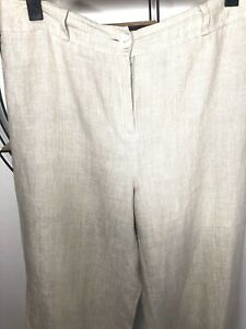 "Country Casuals Ladies Beige Linen  Trouser Wide Leg Full Length  Sz12/29"" VGC"
