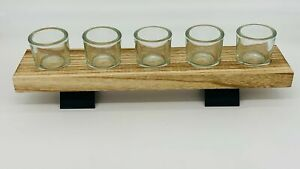 Luxury Tealight Candles Glasses Holder & Wooden Display Tray Wedding Centrepiece
