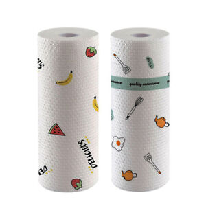 2 Roll Printed Non Woven Towel Wiping Tissue Cleaning Cloth Disposable Kitchen