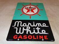 "VINTAGE 1951 TEXACO MARINE WHITE GASOLINE 18"" PORCELAIN METAL BOAT GAS OIL SIGN"