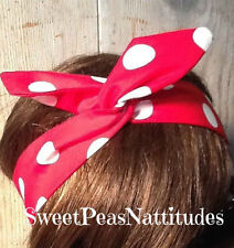 Wire Headband Wired Dolly Bow Rosie the Riveter Wired Rockabilly Hair Scarf