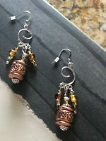 Copper & Silver Tones Artisan Festival Glass Beaded Drop Earrings