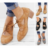 Women Pointed Toe Mid Block Heels Cut Out Lace Up Sweet Shoes Pumps Brogue Size