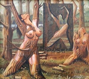 SHLOMO BROSH (1939-), Oil on Canvas, Surreal Fantastic Nude Trees, Signed, 1980