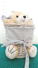 Easter, Bear, White Basket, Hobby Lobby, Brown Plush Bear, Blue Fabric, Nursery
