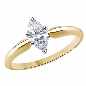 1.33 Ct Marquise Cut Solitaire Engagement Wedding Ring 18K Yellow Gold