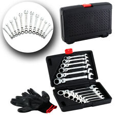 12PCS Flexible Spanner Combination Ratchet Wrench Tool Kit Set Mechanic  8-19 UK