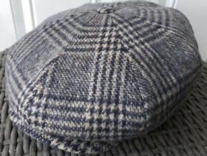 Stetson Large 59cm Gray / Blue Newsboy 8/4 Cap Virgin Wool Gatsby Hatteras 7 3/8