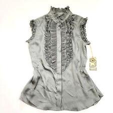 New Converse One Star Womens Ruffle Ruched Gunmetal Grey Blouse Shirt Top sz XS