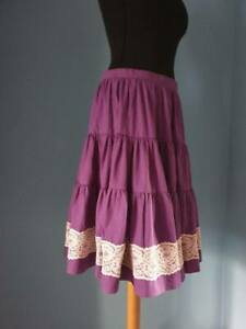 Original Vintage 1950s Purple Lace Trim Rockabilly Full Circle Flare Skirt 12