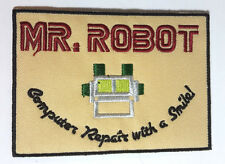 """Mr Robot Computer Repair with a Smile Logo 4"""" Wide White Patch-FREE S&H(MRPA-02)"""