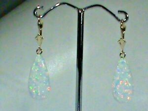 14kt Gold Leverback Earrings w BIG MIX Fire 20 MM Created WIDE White Opal Drops!