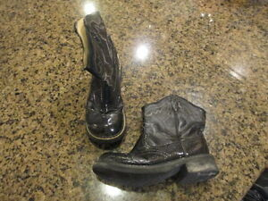 Roper youth  cow girl  western boots black sparkle 2 round toe cowboy