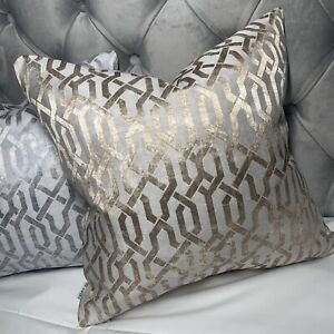 "Luxury Cushion Cover 18"" Geo Designer Fabric Geometric Gold Champagne Decor"