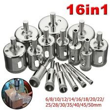 16Pc 6~50mm Diamond Hole Saw Drill Bit Cutter Tool For Tile Marble Glass Ceramic