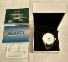 Genuine Seiko Men's Kinetic Day Date Leather Strap Watch - Silver - SRN071P1