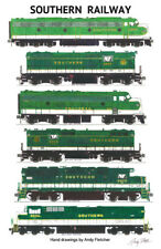 """Southern Railway Green Locomotives 11""""x17"""" Poster by Andy Fletcher signed"""
