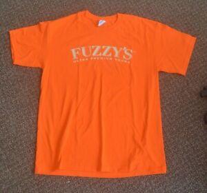 FUZZY'S Ultra Premium Vodka INDY 500 Souvenir Orange T SHIRT L Mens Large