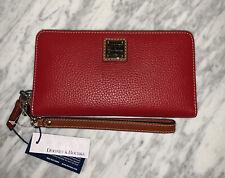 Dooney & Bourke Pebble Grain Large Zip Around Wristlet Wallet Red