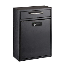 AdirOffice Black 16 x 11 in Drop Box Wall Mounted Mail Box W/Key and Combination