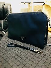 Brand New Prada Navy Blue Classic Leather Clutch / Bag