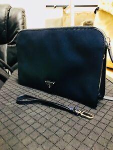 Brand New Prada Navy Blue Classic Leather Clutch / Bag
