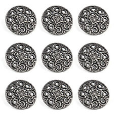30Pcs Tibetan Silver Metal Pierced Buttons Carving Shank Buttons Fit Sewing 18mm