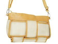 Tasche klein Clutch Handtasche Schultertasche Leder Optik Tasche Beige Weiß