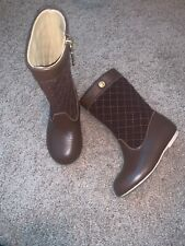 NWT Janie /& Jack Quilted Riding Boots Toddler Size 5 Brown Leather Suede