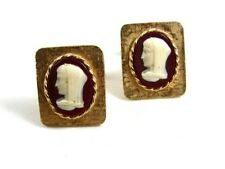 Vintage Marked Goldtone & Lady in White Cufflinks 10222013