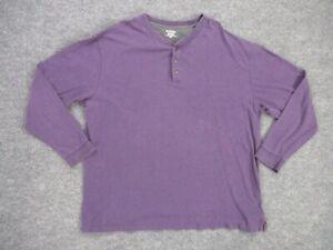 St Johns Bay Shirt Sueded Jersey Henley Men's 2XLT Purple Long Sleeve Cotton