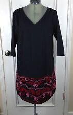 eShakti Custom Womens Black Pink Red Floral Embroidered V Neck Shift Dress D94