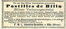 Pastilles de Bilin biliner verdauungszelteln (Bohême) historiques publicitaires 1879