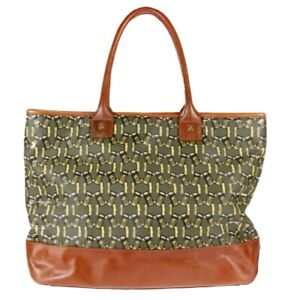 Tory Burch Chained Links Printed Tote Bag Purse Handbag - Green / Gold / Brown