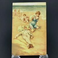 C. 1910s Vtg Antique Bathing Beauty Postcard Beach TICKLE TRICK Man Woman Funny