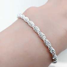 Fashion 925 Silver Solid Twist Rope Chain Bracelets Wedding Jewerly