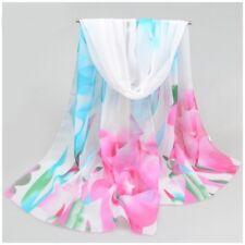 c023e3310aa destockage foulard écharpe neuf mousseline de soie blanche fleurs moderne