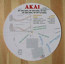 Akai AP-100/206/207/306/307 Tonearm Cartridge Stylus Alignment Protractor