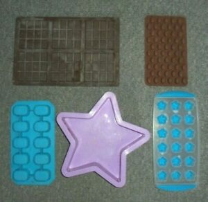 SILICONE MOULD BUNDLE FOR WAX MELTS CHOCOLATE SNAPS FLOWERS LARGE STAR BEANS WM9