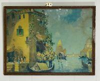 Antique (c.1910) Old Master Italian Island Cityscape Stone Lithograph