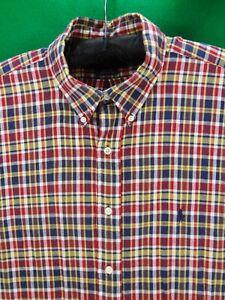 Ralph Lauren BLAKE 3XL 100% cotton plaid button down short sleeve shirt XXXL