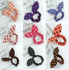 10×Sweet Cute Women's Rabbit Bunny Ear Polka Dot Hair Bands Scrunchie Elastic