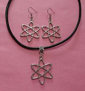 Big Bang Theory Atom Charm Choker Necklace & Earrings - Set or Individual Items