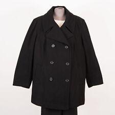 Women's Warm Wool Blend Pea Coat Size 26W Black