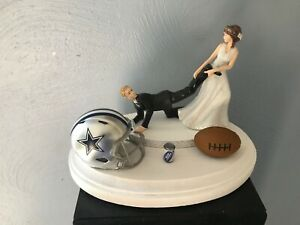Dallas Cowboys Cake Topper Bride Groom Wedding day NFL Funny Football Theme