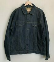 Red Camel Mens Trucker Jacket Blue Denim Dark Wash Buttons Pockets Cotton Sz XXL
