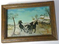 "vintage print running horses snow mini signed 1988 wood frame glass 7"" x 1"" x 5"""