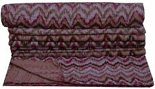 Indian Beige Ikat Throw Kantha Quilt Bedspread Singel Blanket Ralli Reversible