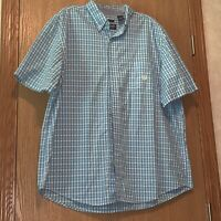 Chaps Short Sleeve Shirt Mens Size 2xl Xxl Gingham Blue White Checks Pocket E100