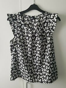 Fun Funky Black Fox Print Top Size 10 Quirky Casual Blogger Autumn Blouse